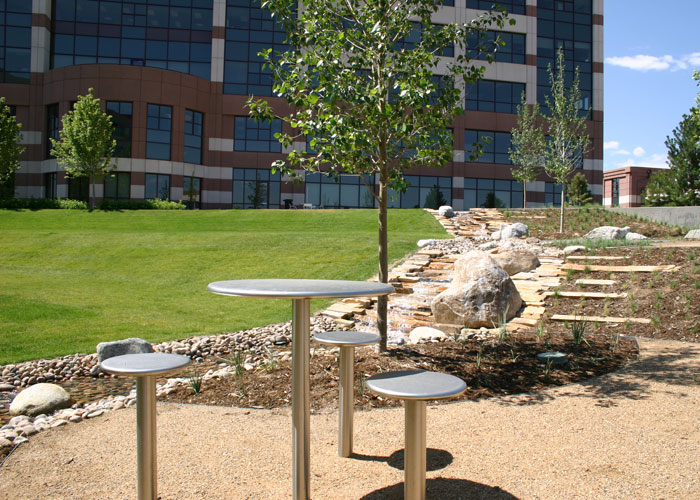 Outdoor seating and park setting image